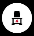 fireplace with red flame simple black icon eps10 vector image vector image