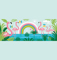 flamingo rainbow palm leaves vector image