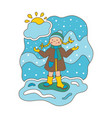 flat girl and snow vector image vector image