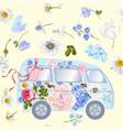 flower bus pattern vector image vector image
