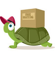 funny courier turtle free shipping vector image vector image