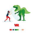 girl sees a dinosaur vr glasses vector image