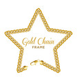 gold chain star border frame wreath starry shape vector image