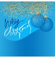Gold glitter background and blue Christmas ball vector image