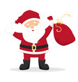 happy cartoon santa claus with red bag with vector image vector image