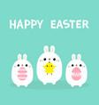 happy easter rabbit holding chicken bird painting vector image vector image