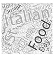 Holiday Italian Food Word Cloud Concept vector image