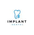 implant dental logo icon vector image vector image