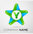 letter y logo symbol in the colorful star on grey vector image vector image