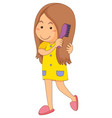 little girl combing hair vector image vector image