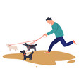 man running with dogs on leash male character vector image
