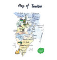 map of tunisia watercolor vector image