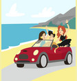 modern prince driving cabriolet car friends vector image