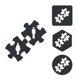 People puzzle icon set monochrome vector image