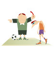 referee with a red card and upset football player vector image