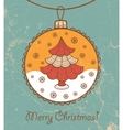 Retro greeting card with glass ball and Christmas vector image
