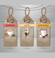 set of restaurant labels of coffee menu design vector image