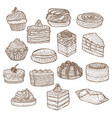 set of sweets in hand drawn doodle style vector image vector image