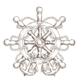 sketch nautical helm with rope and anchors vector image