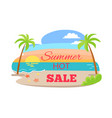 summer hot sale poster tropical beach palm trees vector image