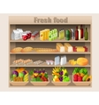 Supermarket shelves food and drinks vector image vector image
