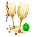 Two glasses of champagne New Year Eve vector image vector image