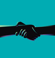 two hands holding each other strongly vector image