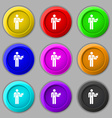 Waiter icon sign symbol on nine round colourful vector image vector image