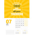 wall calendar template for july 2019 design print vector image vector image