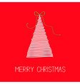 White fir Christmas tree with bow Scribble effect vector image vector image