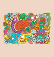 with hand drawn doodle cute monster and nature vector image vector image
