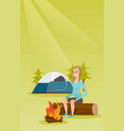 woman sitting on log near campfire in the camping vector image vector image