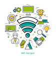 wifi hot spot - line art concept vector image