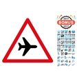 Airplane Warning Icon with 2017 Year Bonus vector image