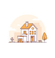 apartment house - modern thin line design style vector image vector image