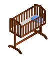 baby cradle icon isometric style vector image vector image