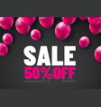 black friday sale poster with shiny balloons bunch vector image