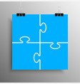 blue piece puzzle infographic 4 step puzzle vector image vector image