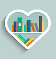 bookshelf in form of heart with colorful books vector image