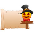 Cartoon pumpkin wearing witch hat with blank sign
