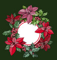 christmas round frame poinsettia flowers vector image