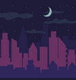 color night city panorama silhouette vector image vector image