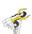 couple lovers with yellow clothes vector image