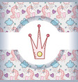 crown with cute unicorn trendy animal vector image vector image