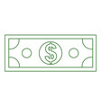dollar money icon mock up with line art style vector image vector image
