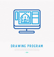 drawing program opened on computer thin line icon vector image