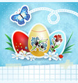 easter background with eggs and butterfly in blue vector image