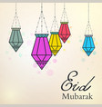 eid mubarak background with colorful arabic lamps vector image
