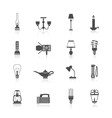 Flashlight and lamps icons black set vector image