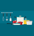 Flat design concept icons of kitchen utensils vector image